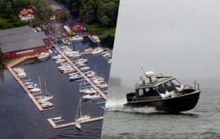 Lidingövarvet från ovan och en Alukin-båt som åker på havet